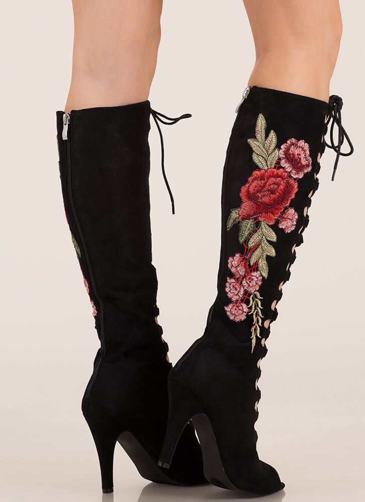 Garden Fairy Lace-Up Knee-High Boots BLACK