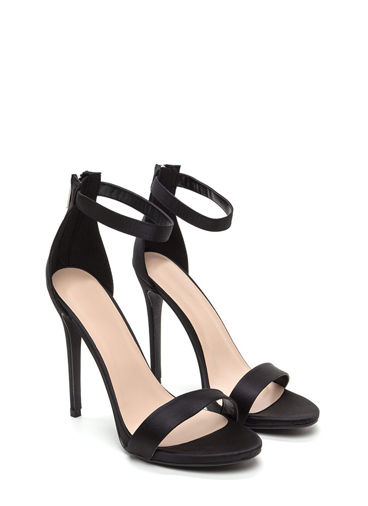 Simply Stunning Satin Ankle Strap Heels BLACK