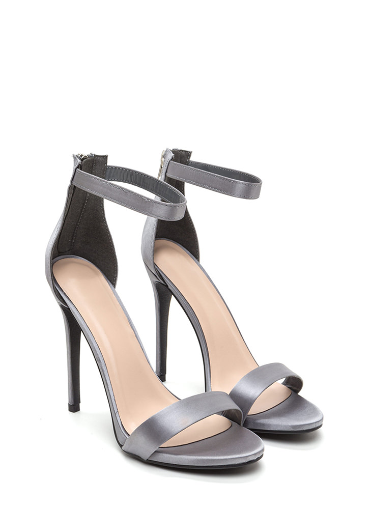Simply Stunning Satin Ankle Strap Heels PEWTER