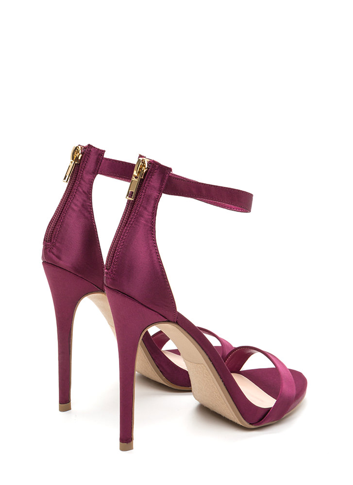Simply Stunning Satin Ankle Strap Heels PURPLE