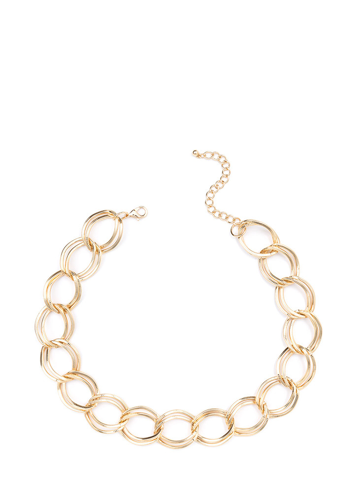 Twice The Fun Chunky Chain Link Necklace GOLD
