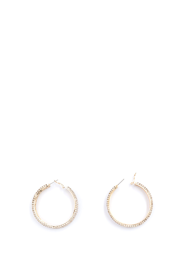 Modern Glamour Rhinestone Hoop Earrings GOLD