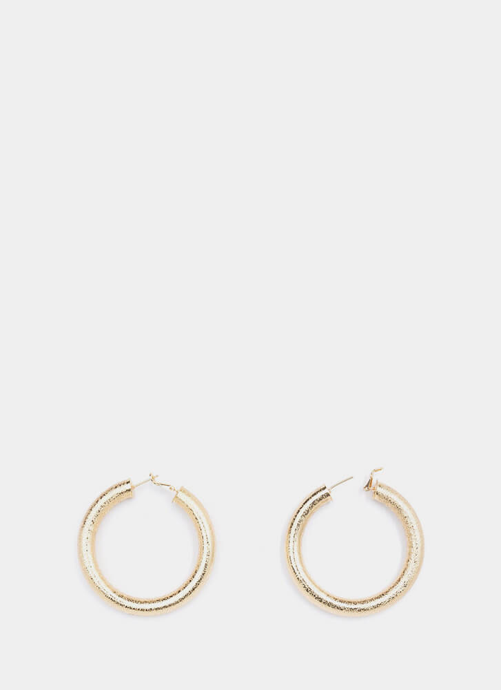 Hoop Theory Textured Earrings GOLD