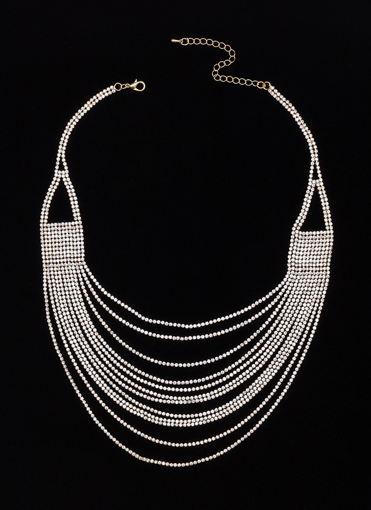 Bling Out The Best Draped Jewel Necklace GOLD