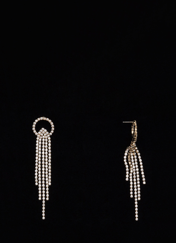 Special Sparkle Jewel Fringe Earrings GOLD