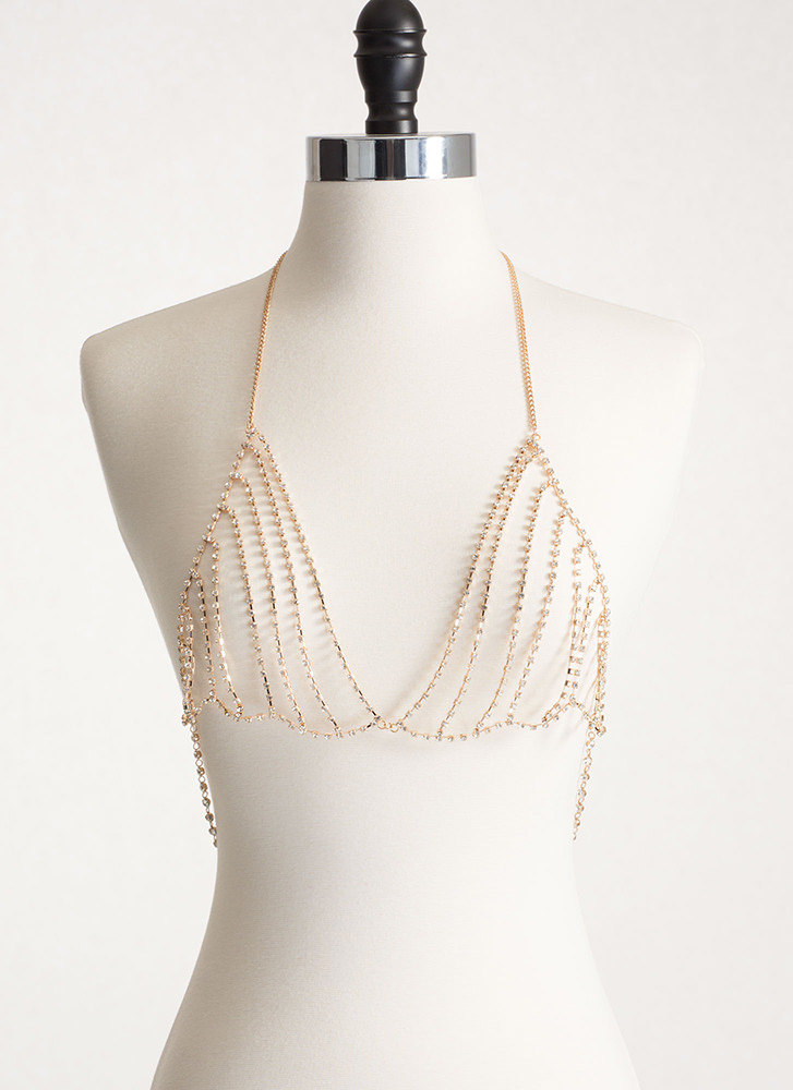 Dripping In Jewels Bralette Body Chain GOLD