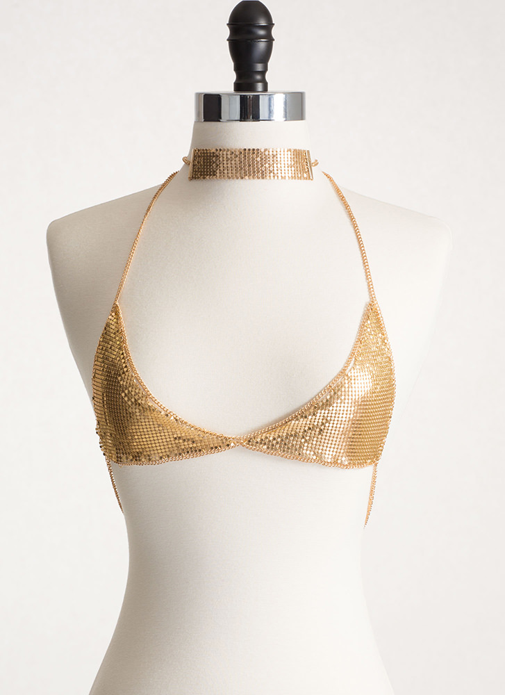 Glam Duo Chainmail Body Chain Set GOLD