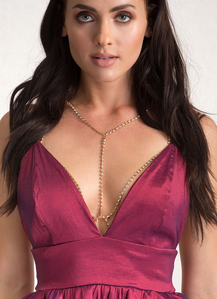 Beautiful Bejeweled Caged Body Chain GOLD