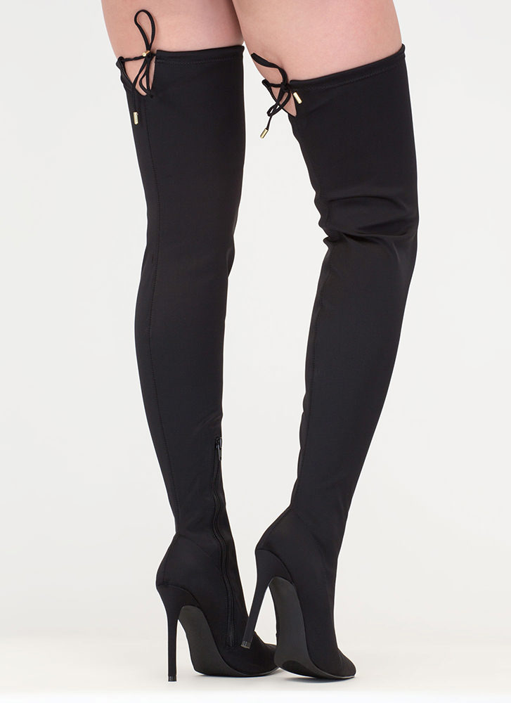 Point Blank Drawstring Thigh-High Boots BLACK