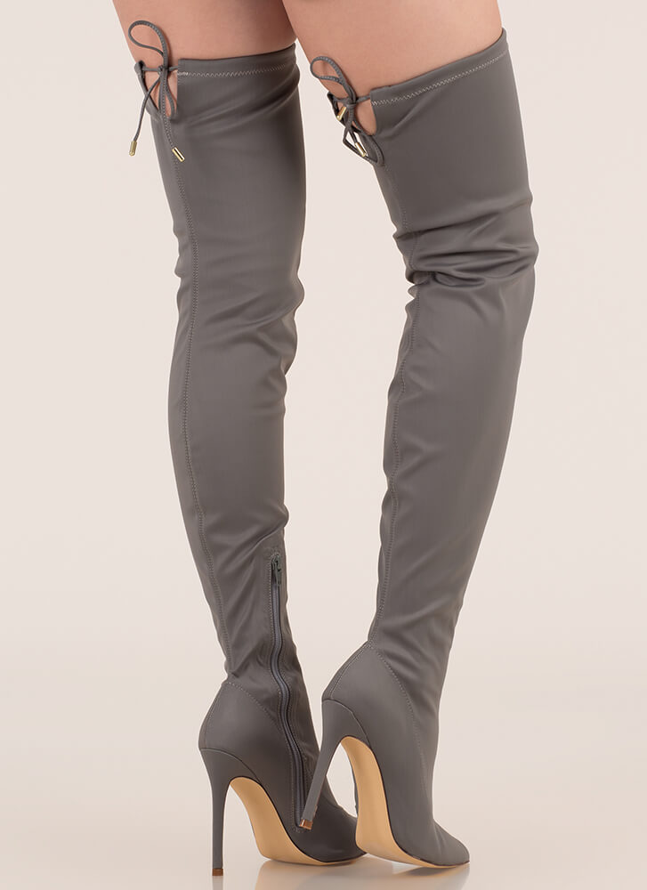 Point Blank Drawstring Thigh-High Boots GREY (Final Sale)