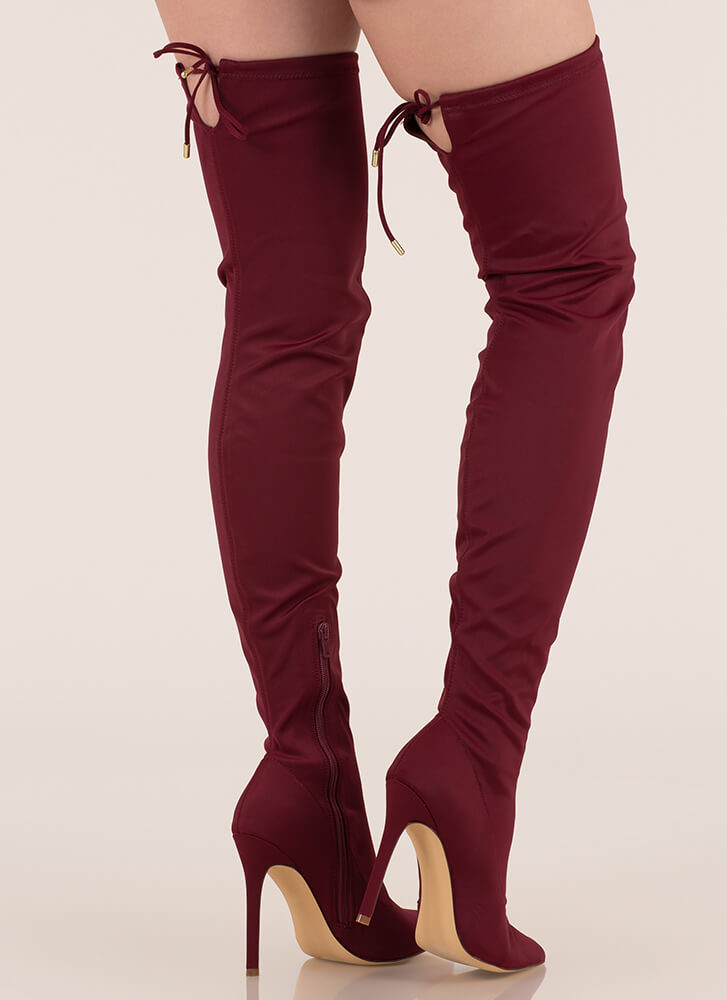 Point Blank Drawstring Thigh-High Boots MAROON