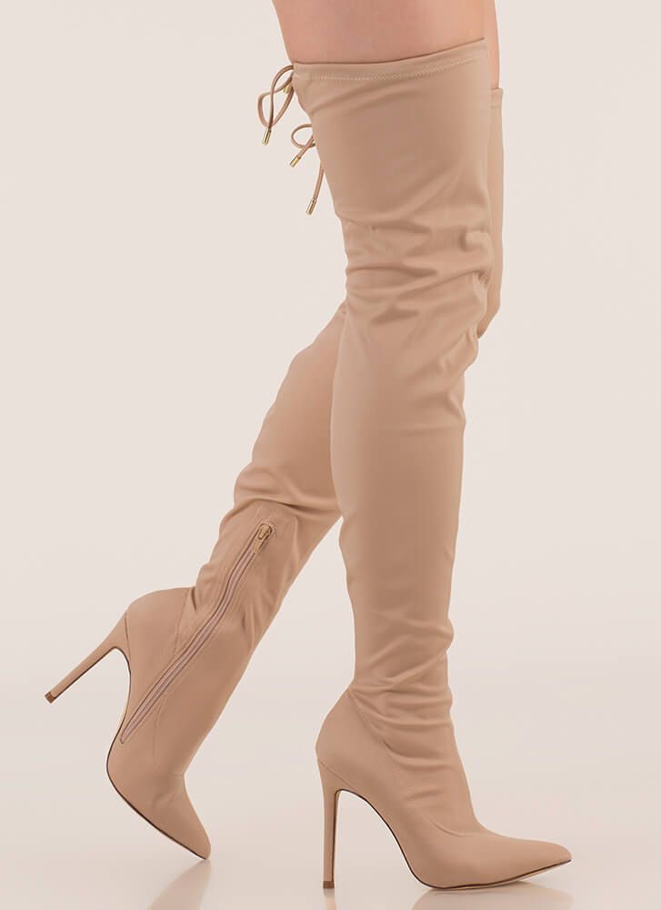Point Blank Drawstring Thigh-High Boots NUDE