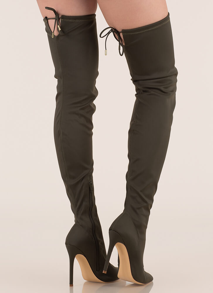 Point Blank Drawstring Thigh-High Boots OLIVE (Final Sale)