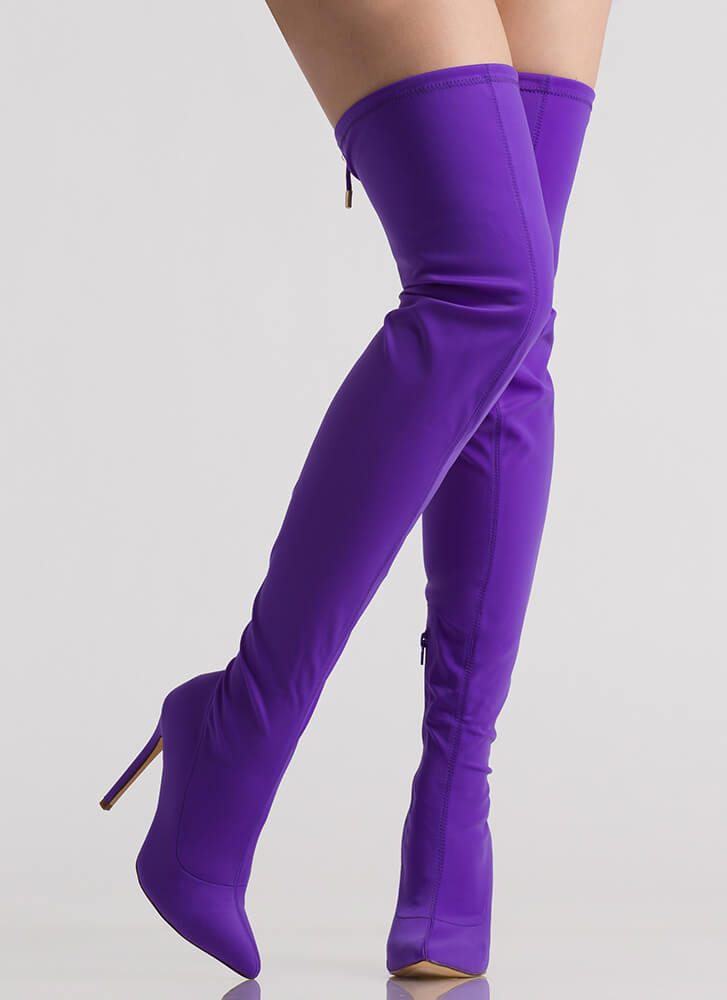 Point Blank Drawstring Thigh-High Boots PURPLE