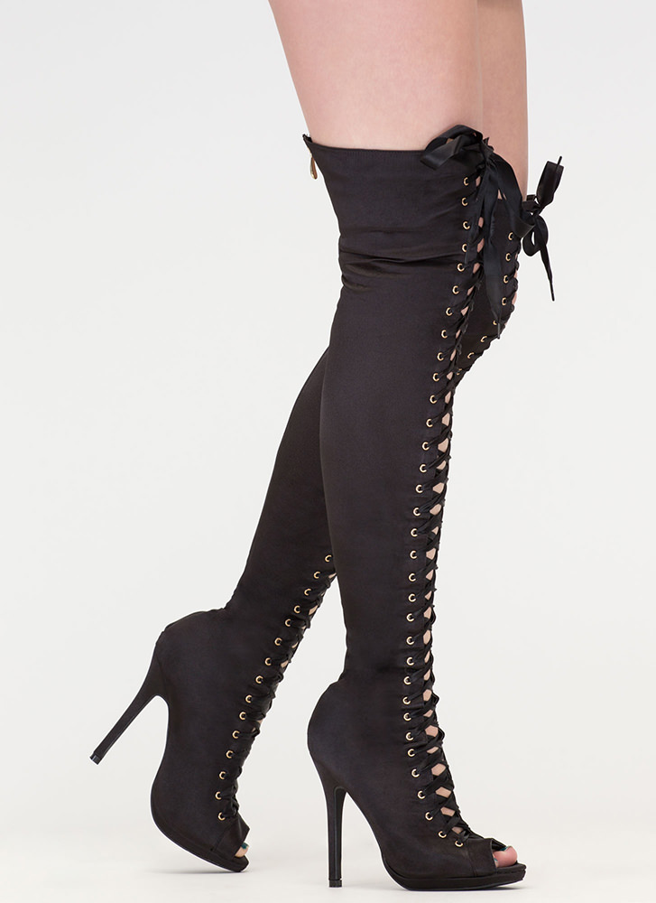 Peep This Satin Lace-Up Thigh-High Boots BLACK ...