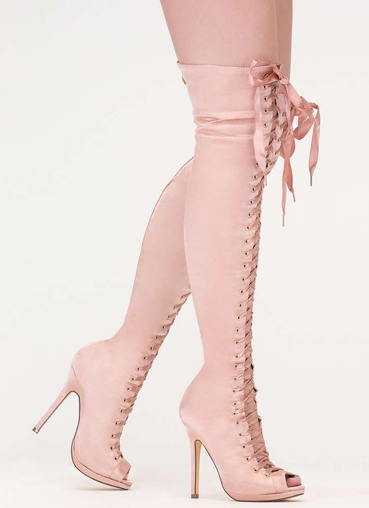 Peep This Satin Lace-Up Thigh-High Boots CHAMPAGNE (Final Sale)