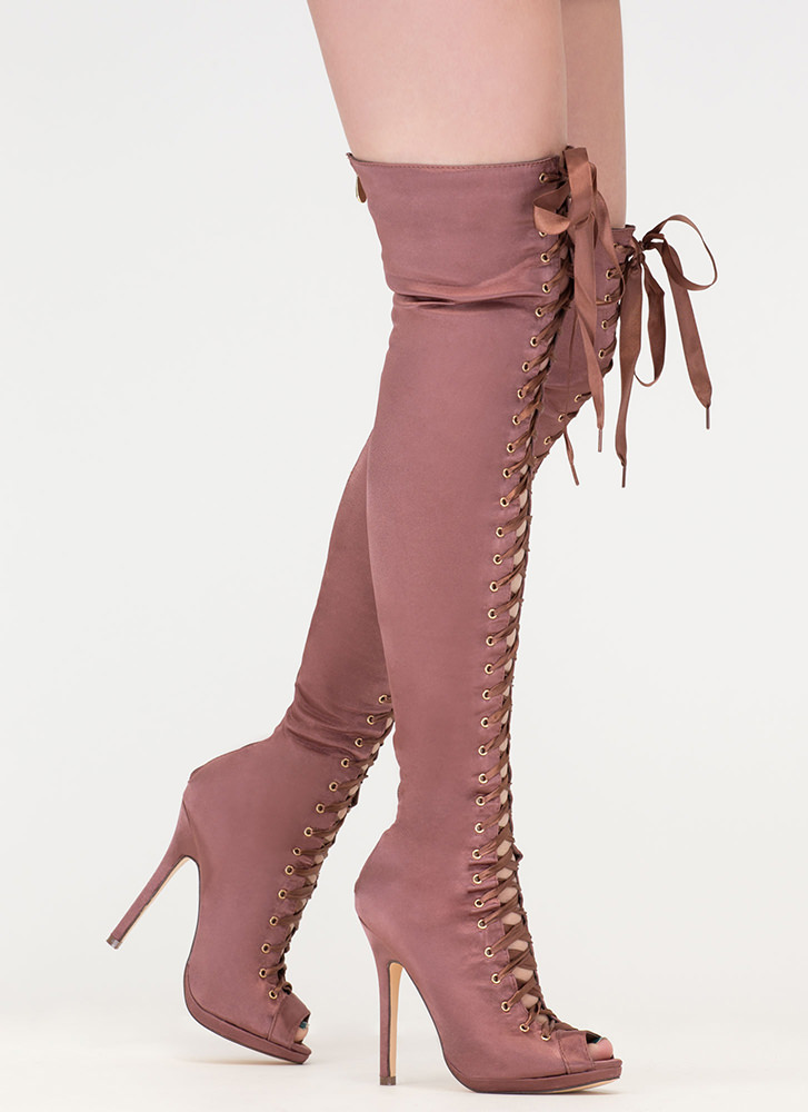 4f2ff5f87d53 Peep This Satin Lace-Up Thigh-High Boots MOCHA BLACK CHAMPAGNE ...