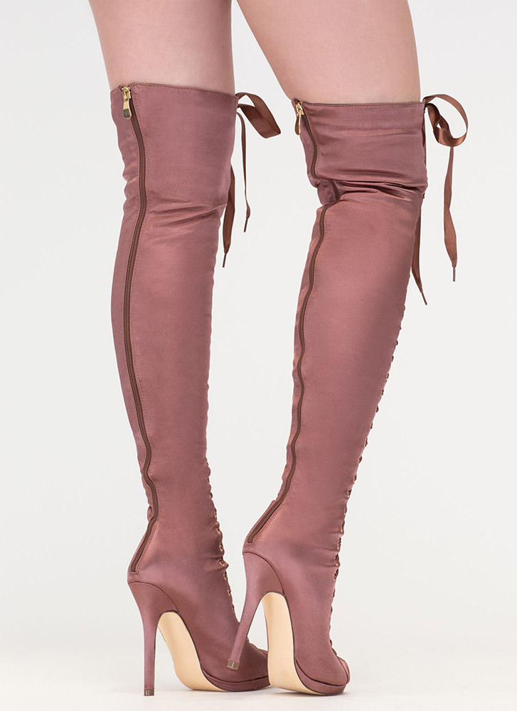 Peep This Satin Lace-Up Thigh-High Boots MOCHA (Final Sale)