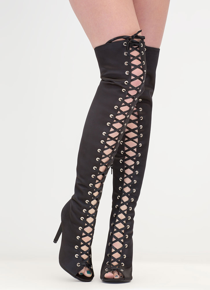 Luxe So Chic Lace-Up Thigh-High Boots BLACK