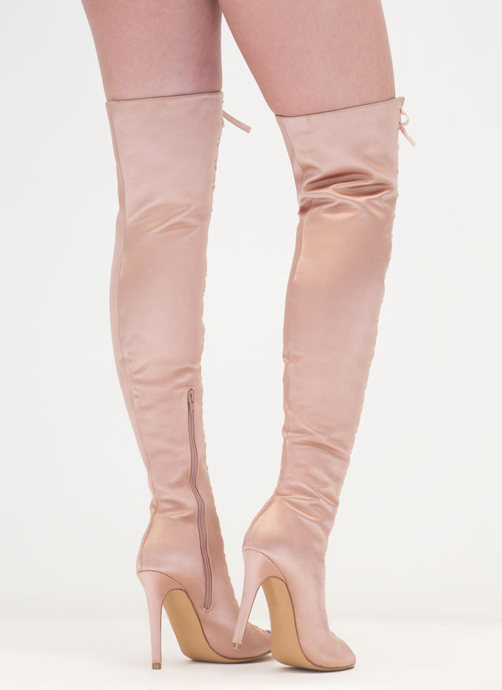 Luxe So Chic Lace-Up Thigh-High Boots MAUVE