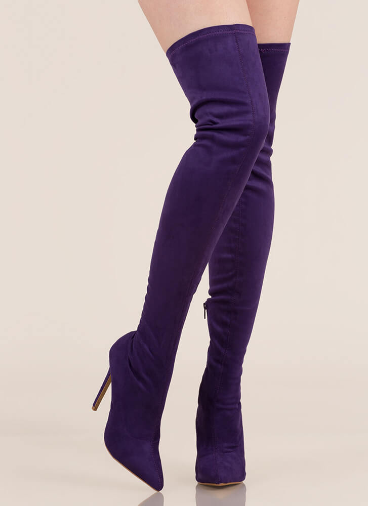 Come Hither Pointy Thigh-High Boots PURPLE