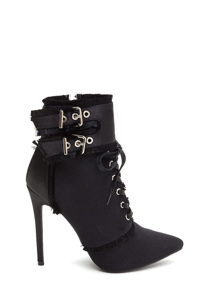 Mini Fringe Pointy Buckled Booties BLACK