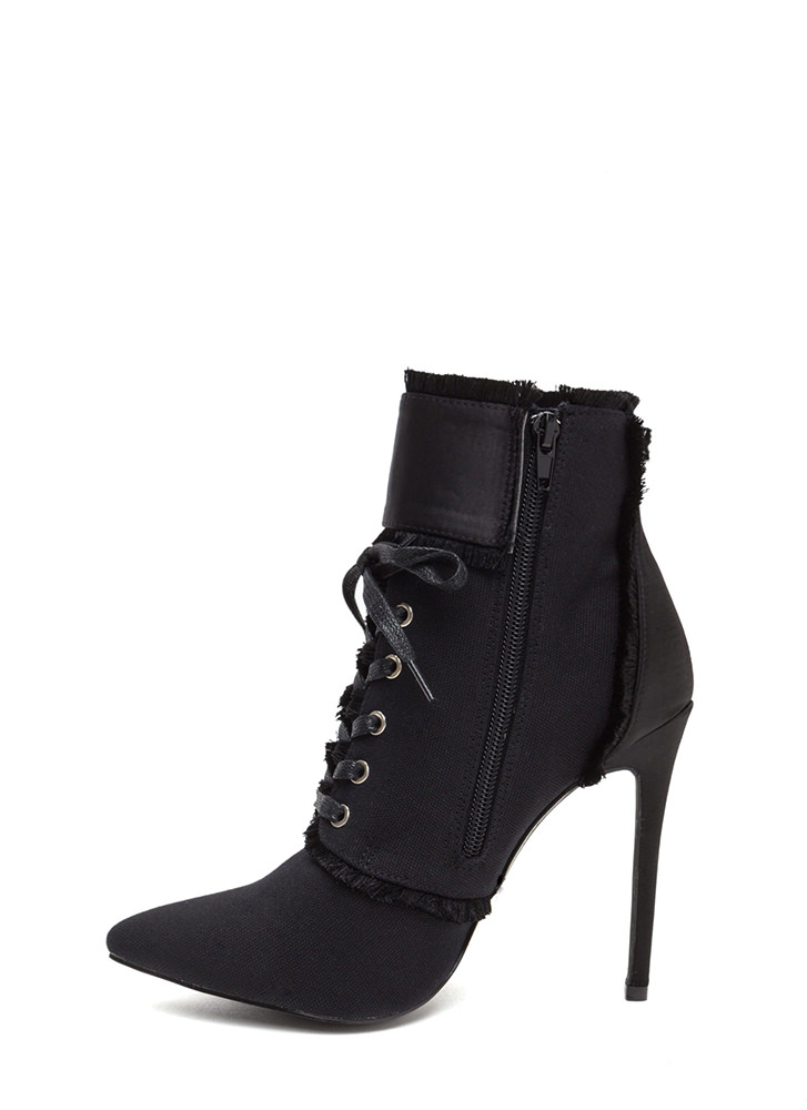 Mini Fringe Pointy Buckled Booties BLACK (Final Sale)