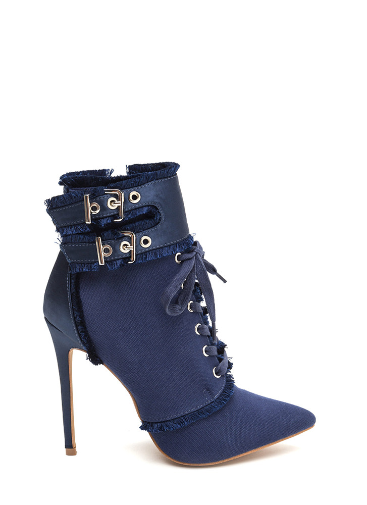 Mini Fringe Pointy Buckled Booties BLUE