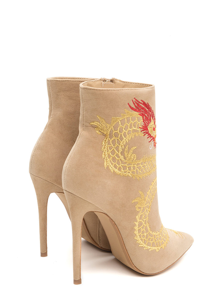 Mythical Dragon Pointy Stiletto Booties NUDE