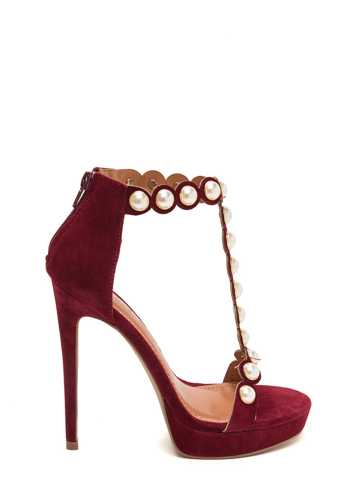 Pearl Diver T-Strap Faux Suede Heels WINE