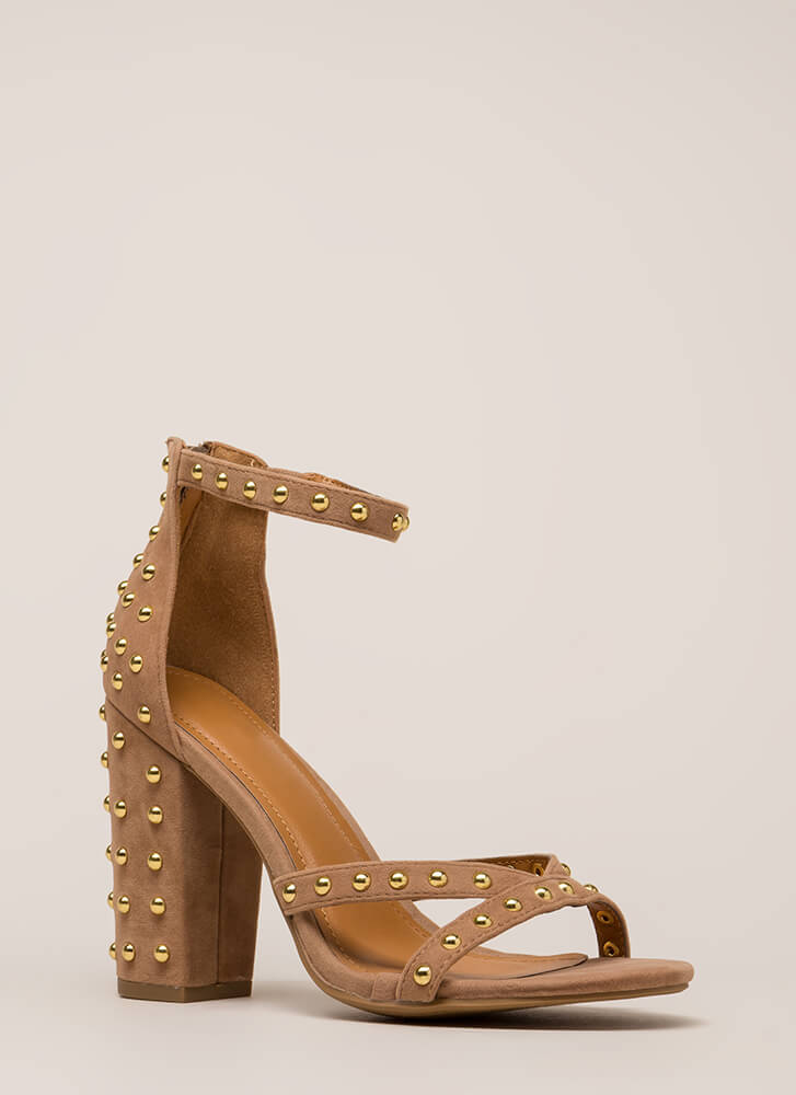 Stud Double Chunky Faux Suede Heels TAUPE