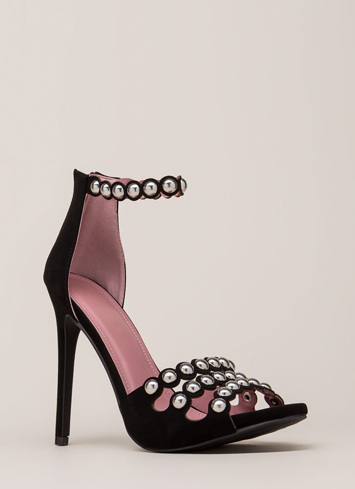 Triple Treat Studded Strappy Heels BLACK