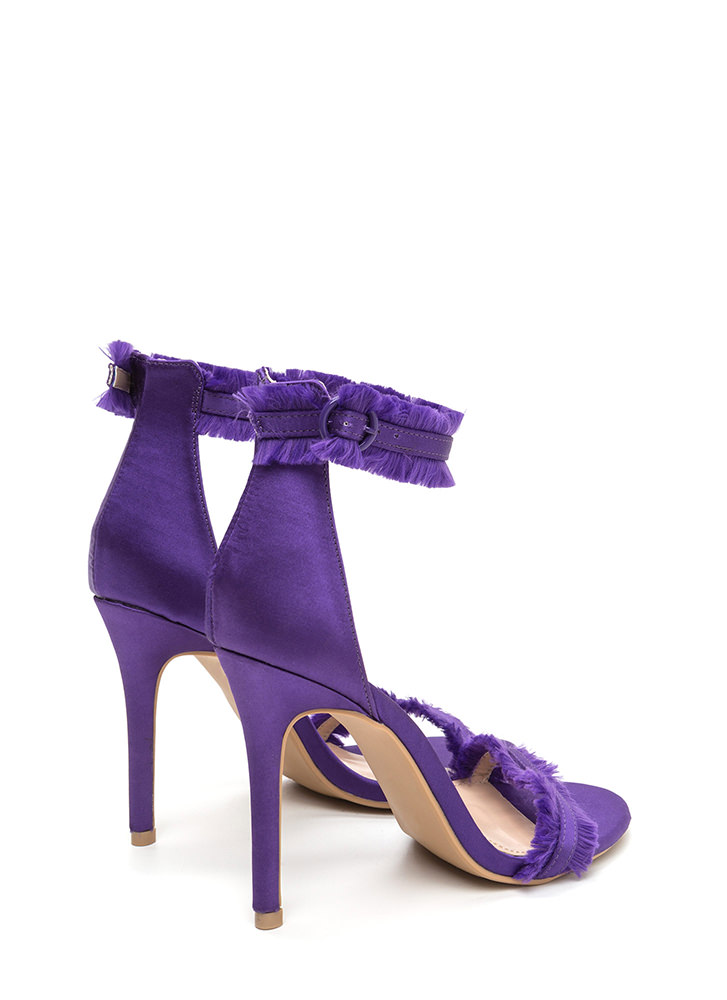 Fringe Binge Strappy Satin Heels PURPLE