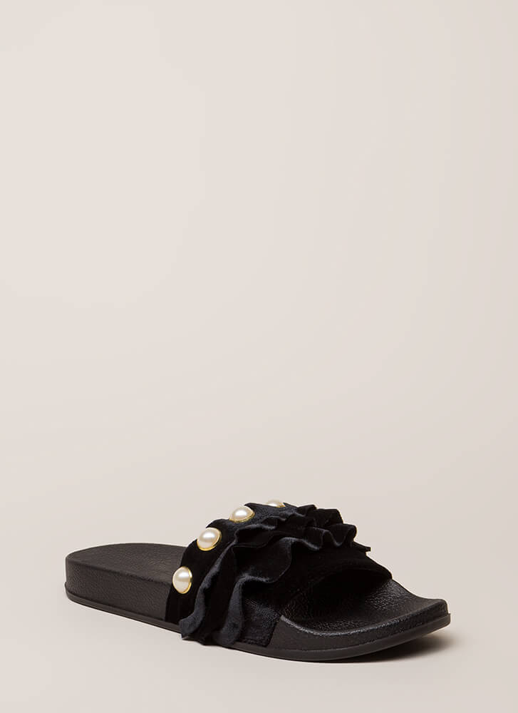 Precious Pearls Ruffled Slide Sandals BLACK