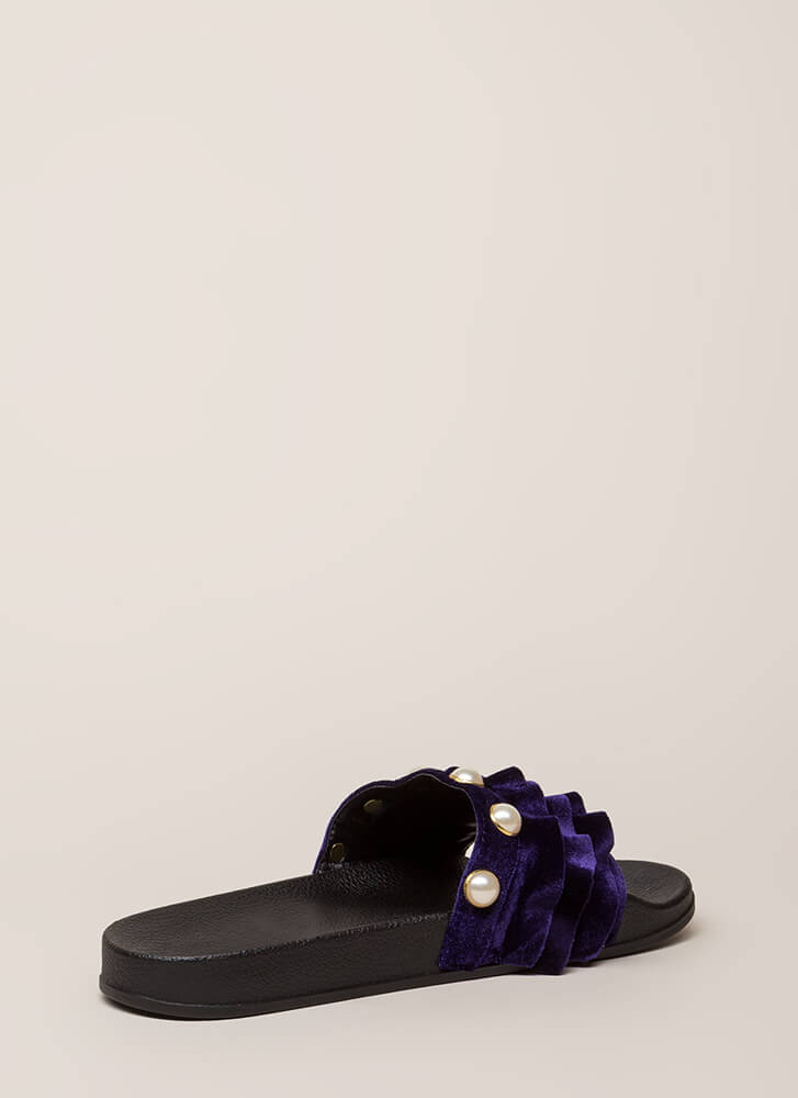 Precious Pearls Ruffled Slide Sandals PURPLE