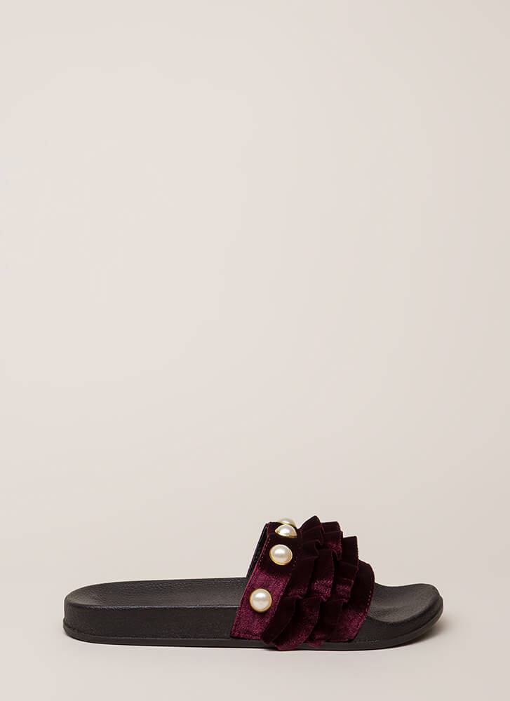 Precious Pearls Ruffled Slide Sandals WINE