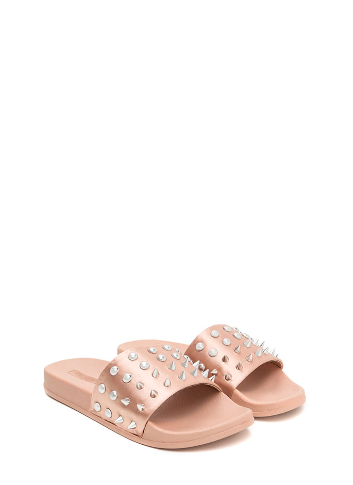 Quick Stud-y Satin Slide Sandals MAUVE (Final Sale)