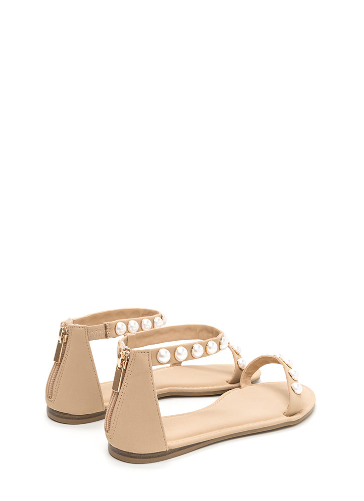 Jewel Box Strappy Faux Nubuck Sandals NUDE