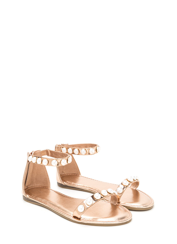 Jewel Box Strappy Metallic Sandals ROSEGOLD