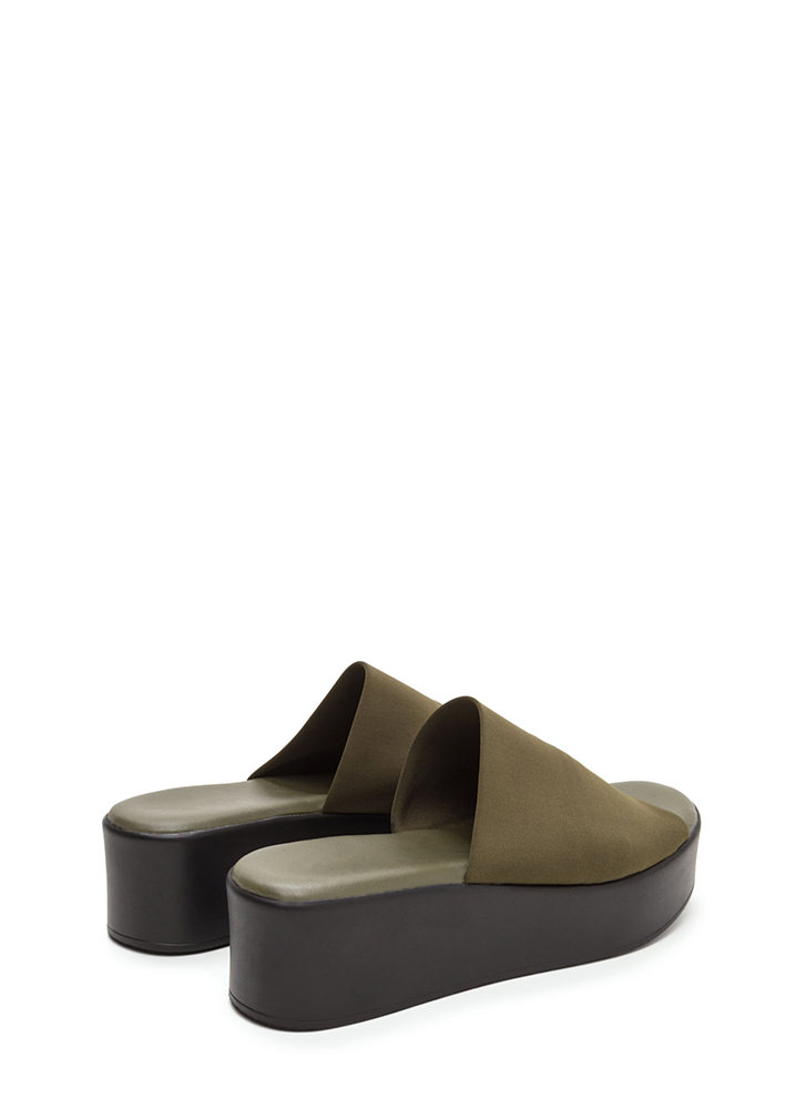 Daily Duty Platform Slide Sandals OLIVE