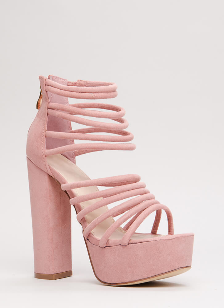 Stylish Climb Caged Faux Suede Heels DUSTYPINK