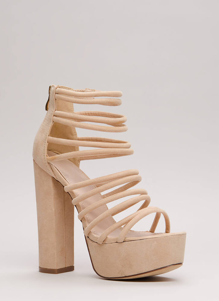 Stylish Climb Caged Faux Suede Heels NUDE