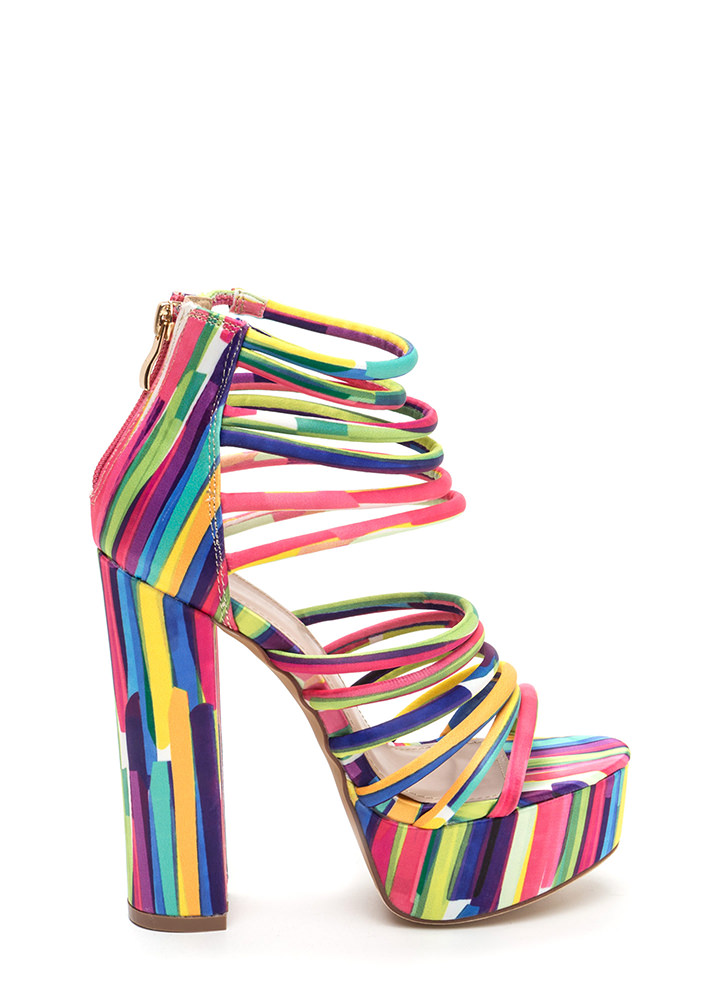Stylish Climb Caged Printed Heels MULTI