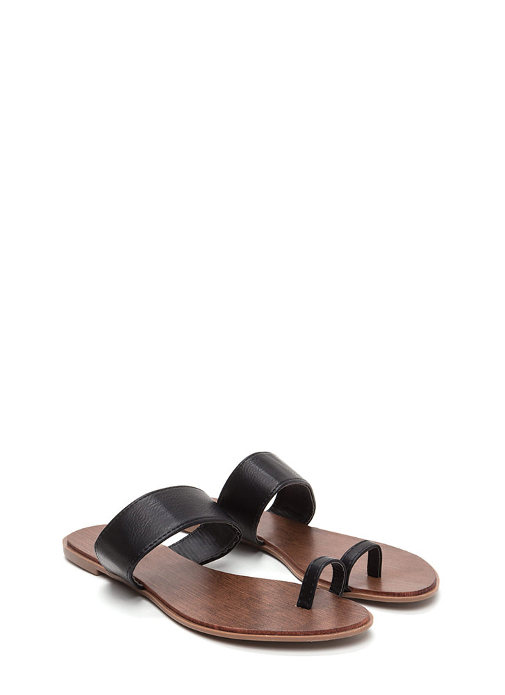 On Your Toes Faux Leather Slide Sandals BLACK
