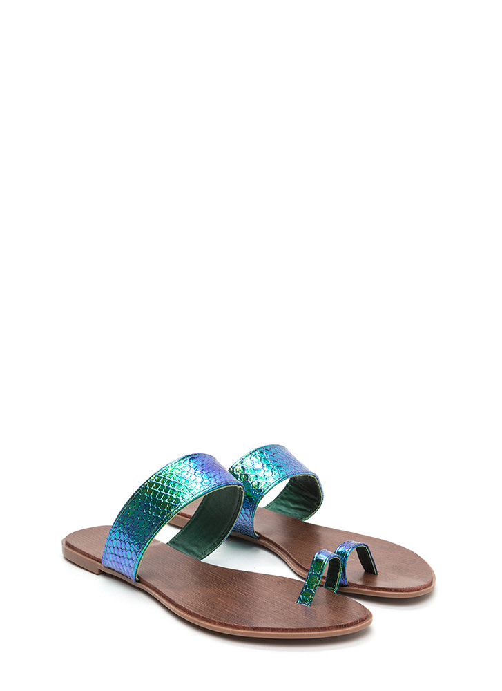On Your Toes Snakeskin Slide Sandals GREEN