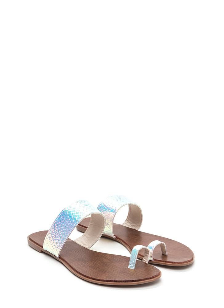 On Your Toes Snakeskin Slide Sandals PINK