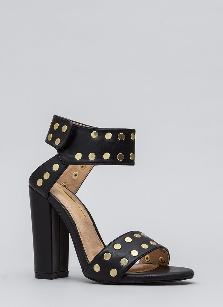 Front Row Stud Chunky Faux Leather Heels BLACK