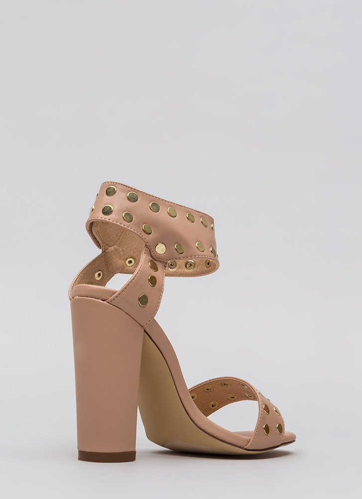 Front Row Stud Chunky Faux Leather Heels NUDE