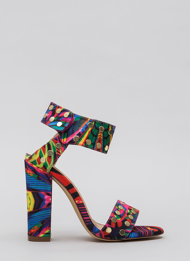 Front Row Stud Chunky Printed Heels MULTI (Final Sale)