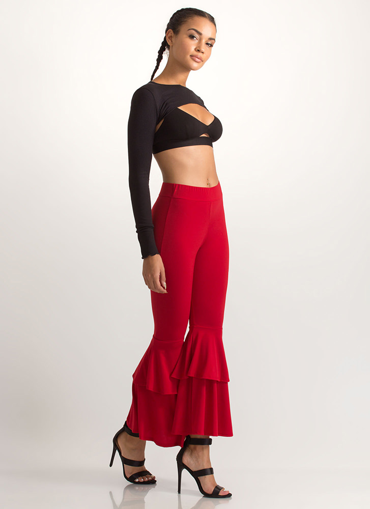 Flare Enough Ruffled Pants RED (Final Sale)